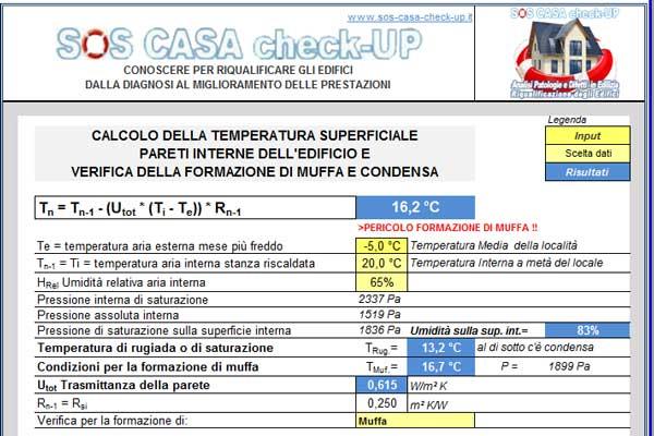 Calcolo Temperatura superficiale interna isolamento e comfort termico